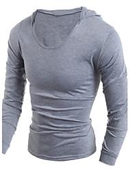 Herren T-shirt-Einfarbig Freizeit / Sport Baumwolle Lang-Schwarz / Weiß / Grau