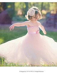 Ball Gown Floor-length Flower Girl Dress-Cotton / Satin / Tulle / Rayon Sleeveless