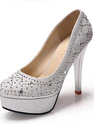 Черный / Серебристый-Свадебная обувь-Женский-На каблуках / На платформе / С круглым носком-Обувь на каблуках-Свадьба / Для офиса / Для