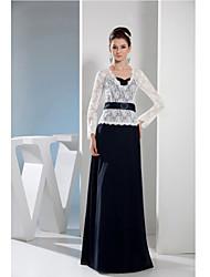 Sheath/Column Mother of the Bride Dress - Floor-length Lace / Charmeuse