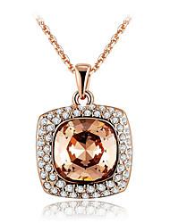 women's Fashion Luxury Atmosphere Set Auger Crysta Rose Gold Platingl Pendant Necklace