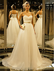 Lanting Bride® A-line Wedding Dress Chapel Train Straps Organza with Draped / Beading / Button