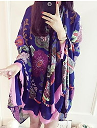 Spring New Female Sun Oversized Scarves Flowers Cotton Long Shawl
