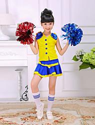 Tenue(Jaune,Polyester,Costumes de Pom-Pom Girl)Costumes de Pom-Pom Girl- pourEnfant Plissé Spectacle Costumes de Pom-Pom Girl Taille haute