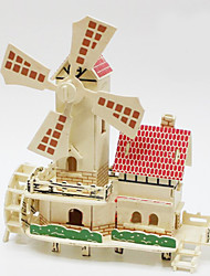 Quebra-cabeças Quebra-Cabeças 3D Quebra-Cabeças de Madeira Blocos de construção Brinquedos Faça Você Mesmo Moinho de Vento Madeira Bege