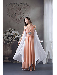 Formal Evening Dress Sheath / Column Spaghetti Straps Ankle-length Chiffon with Crystal Detailing / Side Draping