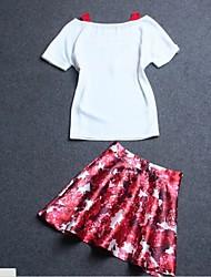Women's Floral Red / White Set , Boat Neck Short Sleeve