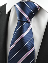 Pink White Striped Navy Blue JACQUARD Men's Tie Necktie Business Trip Gift #0009