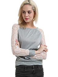 Women's Sexy/Beach/Casual/Lace Carving Long Sleeve T-shirt