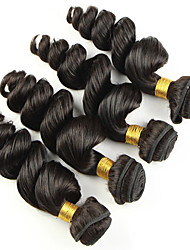 Mix Size 4Bundles Brazilian Virgin Hair Loose Wave  Color 1B# Unprocessed Raw Virgin Human Hair Weaves Hot Sale.