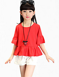 Girl's Red Tee / Shorts,Ruffle Cotton Summer