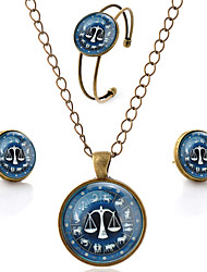 Lureme® Time Gem The Zodiac Series Simple Vintage Style Libra Pendant Necklace Stud Earrings Bangle Jewelry Sets