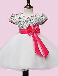 Girl's White Dress Polyester Summer