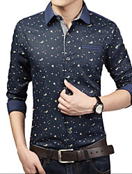 Men's Fashion Designer Casual Print Slim Fit Long Sleeved Shirt