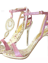 Women's Shoes Glitter Stiletto Heel Heels / Gladiator Sandals Pink / Gold