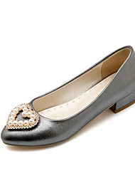 Women's Shoes Patent  Fall Heels/ Round Toe Heels Office & Career / Casual Low Heel Imitation Pearl Pink / White /Gray