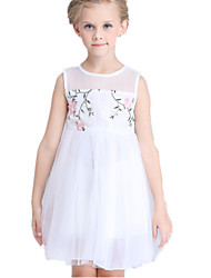 Girl's White Dress,Lace Cotton / Polyester Summer