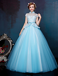 Ball Gown Princess Illusion Neckline Floor Length Lace Tulle Formal Evening Dress with Beading Appliques Bow(s) Crystal Detailing
