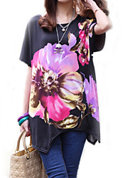 Women's Casual/Daily Boho / Street chic Summer T-shirt,Floral Round Neck Short Sleeve Black Rayon Thin
