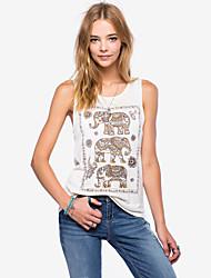 Women's New Fashion Casual Asymmetrical Vest, Round Neck Elephant Totem Printing(Cotton)