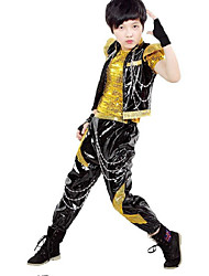 Jazz Outfits Kid's Performance Polyester Sequin 3 Pieces Short Sleeve Coat Vest Pants