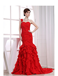 Formal Evening Dress Trumpet / Mermaid One Shoulder Chapel Train Chiffon / Charmeuse with Beading / Ruffles / Side Draping