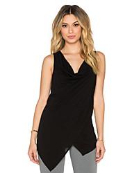 Women's Casual/Daily Street chic Summer Blouse,Solid V Neck Sleeveless Black Cotton Medium