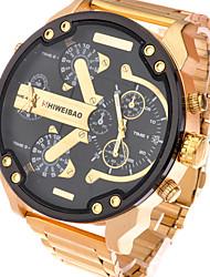 Masculino Relógio Esportivo Relógio Militar Relógio Elegante Relógio de Moda Relógio de Pulso Quartzo Calendário Dois Fusos HoráriosAço