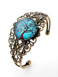 Pulseiras com Pendentes Bracelete Gema Prata Chapeada Vidro Liga Estilo simples Esculpido Formato de Flor Bronze Jóias 1peça
