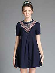Summer Women Vintage Casual Ethnic Bead Embroidery Patchwork Lace Pleat Plus Size Short Sleeve Dress