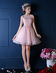 Ball Gown Princess Illusion Neckline Knee Length Lace Cocktail Party Dress with Beading Crystal Detailing Flower(s) Lace Pearl Detailing