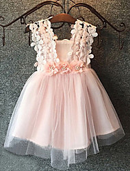 Girl's Cotton Summer Lace Hook Flower Gauze Tank Top Dress