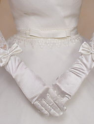 Elbow Length Fingertips Glove Satin / Lace Bridal Gloves / Party/ Evening Gloves Ivory Bow / lace