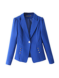 Women's Solid Blue / Pink / Black / Yellow Blazer,Simple Notch Lapel Long Sleeve