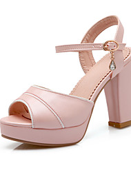 Women's Shoes  Chunky Heel Peep Toe / Platform Sandals Wedding / Party & Evening / Dress Pink / White