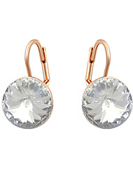 HKTC Concise Ladies Jewelry 18k Rose Gold Plated Dazzing Clear Cubic Zirconia Pierced Clip Earrings