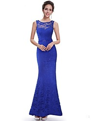 Women's Sexy Solid Lace V Neck Maxi Trumpet/Mermaid Dress