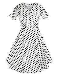 Klassische & Traditionelle Lolita Kurzarm Mittlerer Länge Weiss Baumwolle Lolita Kleid