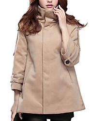 Women's Solid Brown Coat,Simple ¾ Sleeve Wool