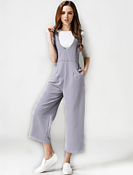 Women's Solid Black / Gray Jumpsuits,Simple / Holiday / Casual Loose High waist Strap Wide leg pants Cotton / Linen