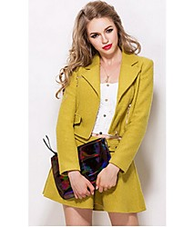 Women's Casual/Daily Simple Spring Set,Solid Notch Lapel Long Sleeve Yellow Acrylic / Polyester Medium