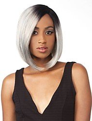 Short Straight Ombre Silver Grey 1B/Silver Synthetic Lace Front Wig Natural Black/Gray for Women