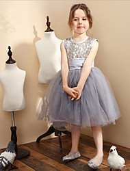 2016 New Style Silver Tulle Sequined Ball Gown Knee-length Flower Girl Dresses