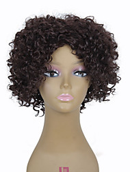 "10"" Synthetic Short Dark Brown Curly Wig Heat Resistant African American Short Kinky Curly Wig"