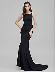 TS Couture Formal Evening Dress - Sparkle & Shine Trumpet / Mermaid Scoop Court Train Jersey with Beading Bow(s)