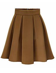 Women's Solid Red / Black / Brown Skirts,Vintage / Work Above Knee