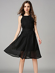 Women's Vintage Solid Swing Dress,Halter Knee-length Polyester