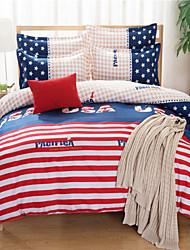 Yuxin®Brushed Cotton Super Soft Aloe Cartoon Family of Four Bedding Linen Quilt  Bedding Set