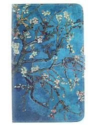 Marillenblüte Baummuster PU-Leder Ganzkörper-Fall mit Standplatz und Kartenschlitz für Samsung Galaxy Tab e 8.0 t377 t375