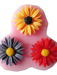 три отверстия подсолнечника силиконовые инструменты формы помадные формы сахарного ремесла смолы цветы формы для тортов